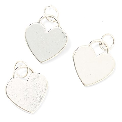 Base & Bling Heart Charm — Faux Silver