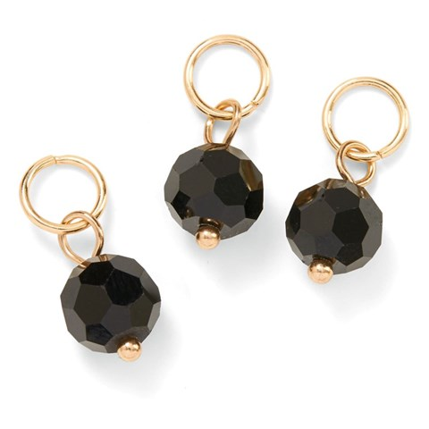 Base & Bling Black Bead Charm — Faux Gold