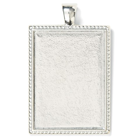 Base & Bling Rectangle Pendant — Faux Silver