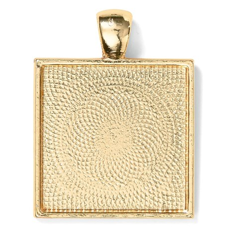 Base & Bling Square Pendant — Faux Gold