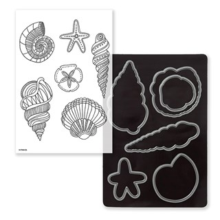Swirly Shells Stamp + Thin Cuts