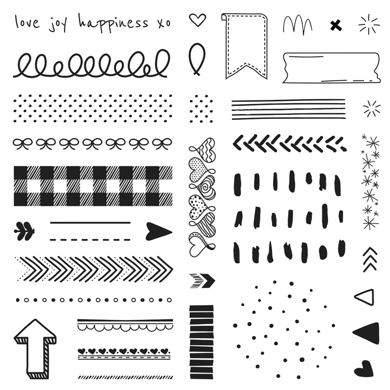 S2102: Doodled Borders, set of 36