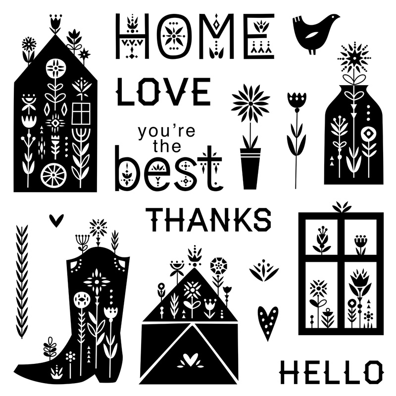 S2104: Scandinavian Folk Art Greetings, set of 17