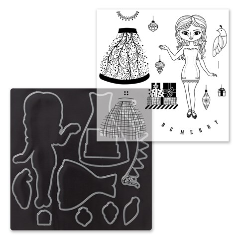Christmas Paper Doll Stamp + Thin Cuts (Z4053)