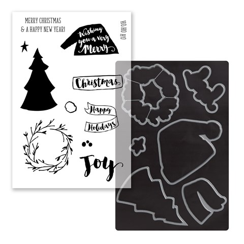 Beary Christmas Cardmaking Stamp + Thin Cuts (Z4046)