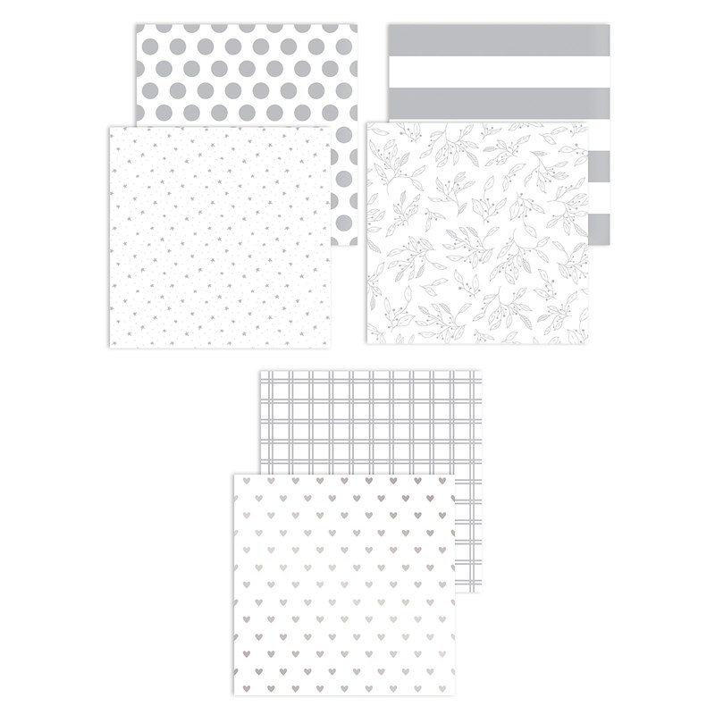 Silver Foil Patterns Paper Packet
