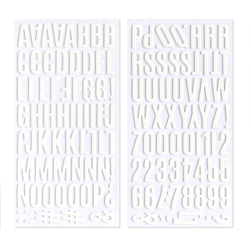 White Alphabet Foam Stickers