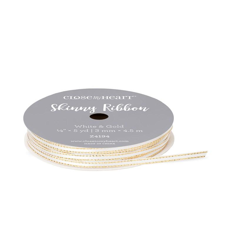 White & Gold Skinny Ribbon