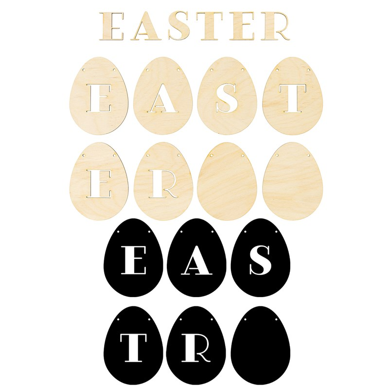 Easter Egg Wood Banner
