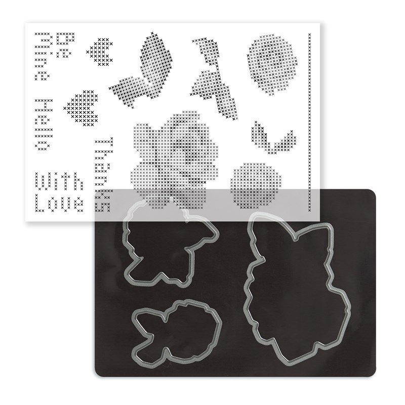 Cross-stitch Love Stamp + Thin Cuts