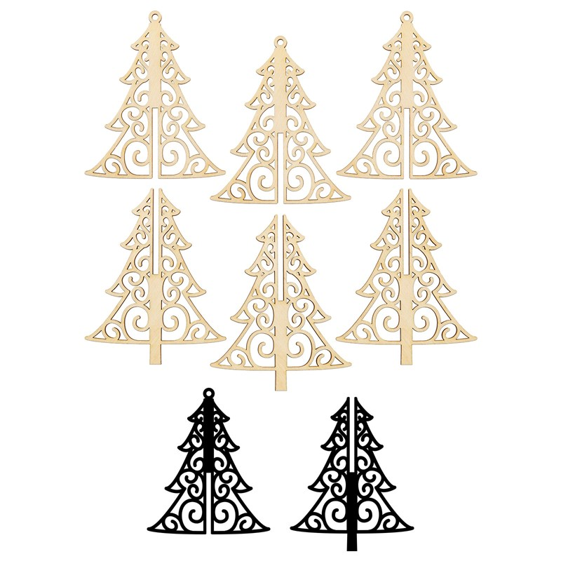 3-D Tree Wood Ornaments