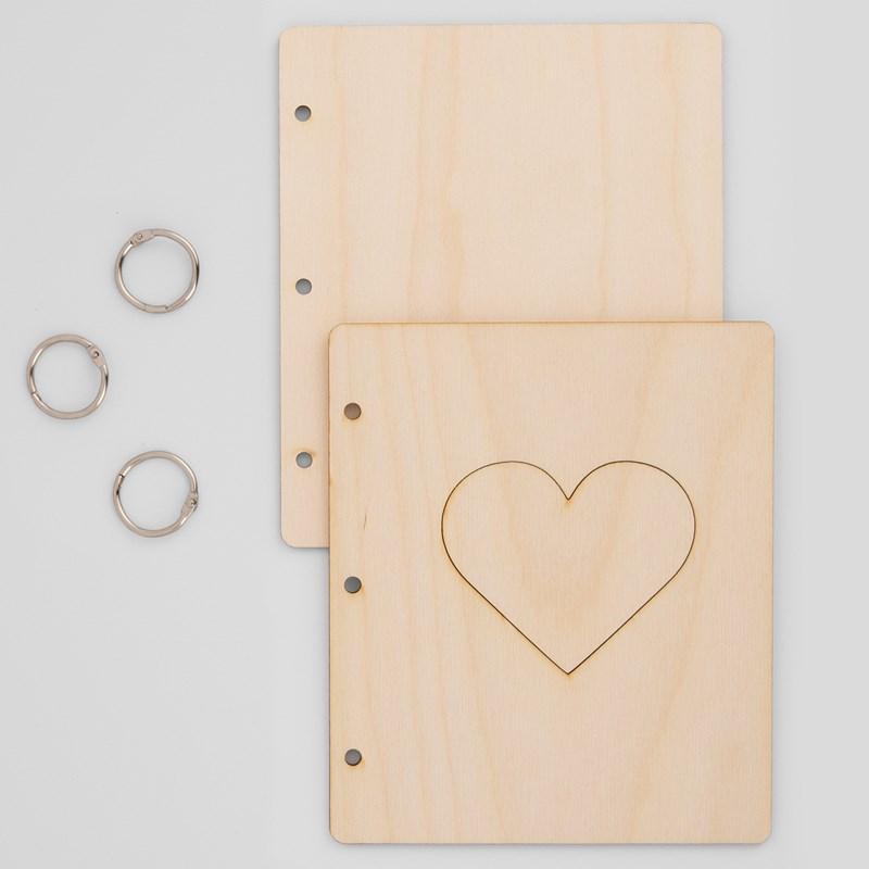 Wood Mini Album Cover—Heart