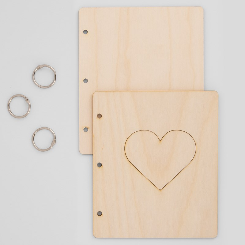 Wood Mini Album Cover—Heart